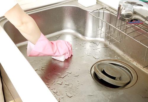 キッチンのシンクを磨く